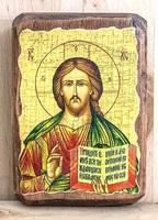 Спаситель, икона под старину, на дереве (8x10)