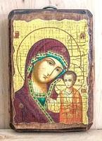 Казанская Б.М., икона под старину, на дереве (8x10)