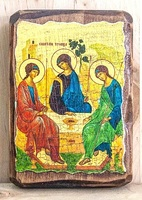 Троица Рублевская, икона под старину, на дереве (8x10)