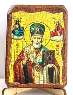 Николай Чудотворец в митре, икона под старину, на дереве (8x10)