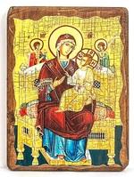 Всецарица Б.М., икона под старину, на дереве (17х23)