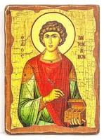 Пантелеймон, икона под старину, на дереве (21х28)