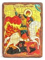 Георгий, убивающий змея, икона под старину, на дереве (21х28)