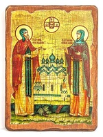 Петр и Феврония, икона под старину, на дереве (21х28)