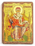 Спиридон Тримифунтский (трон), икона под старину, на дереве (21х28)