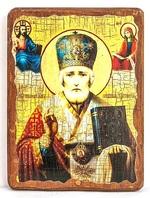 Николай Чудотворец в митре, икона под старину, на дереве (30х42)