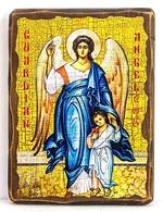 Ангел с детьми, икона под старину, на дереве (13х17)