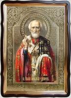 Николай Чудотворец, без митры, св. од., (пояс), с багетом. Большая Храмовая икона 60 Х 80 см.
