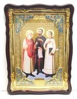 Самон, Гурий и Авив Св. муч., в фигурном киоте, с багетом. Храмовая икона 60 Х 80 см.