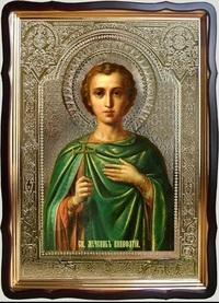 Вонифатий, Св. муч (зелёное одеяние), в фигурном киоте, с багетом. Храмовая икона 60 Х 80 см.