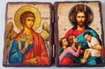 Ангел Хранитель и Благословение детей. Складень под старину 13Х17