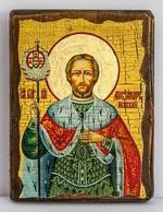 Александр Невский (пояс), икона под старину, сургуч (13 Х 17)