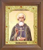 Сергий Радонежский. Икона в деревянной рамке с окладом (Д-26псо-56)