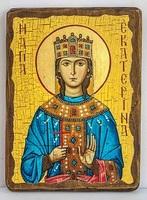 Екатерина Александрийская, Св.ВлМч.(пояс), икона под старину, сургуч (17 Х 23)