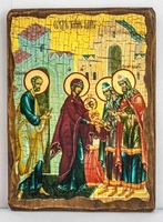 Обрезание Господне, икона под старину, сургуч (17 Х 23)