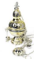 Кадило латунное двух-цветное, с позвонцами
