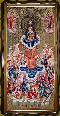 Живоносный источник Б.М., в фигурном киоте, с багетом. Храмовая икона 60 Х 114 см.
