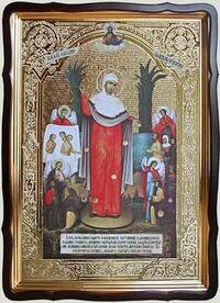 Всех скорбящих Радость (с грошиками) Б.М., в фигурном киоте, с багетом. Храмовая икона 80 Х 110 см.