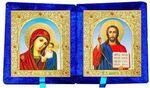 Складень бархат (Б-21-6-СГФ) цвет синий, средний, голубой фон, лик 15х18