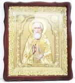 Сергий Радонежский. Храмовая икона в фигурном киоте, в ризе, с багетом, 38 Х 44
