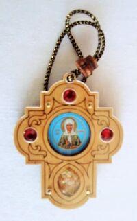 Подвеска автомобильная (107) крест, березовый щит, имитация камней, ладан, орг.стекло, Матрона Московская
