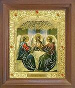 Троица. Икона в деревянной рамке с окладом (Д-26псо-60)