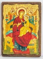 Всецарица Б.М. (светлый фон), икона под старину, сургуч (17 Х 23)