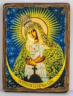 Остробрамская Б.М., икона под старину, сургуч (17 Х 23)