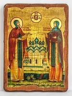 Петр и Феврония, икона под старину, сургуч (17 Х 23)