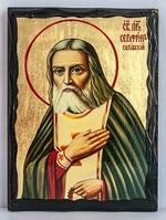 Серафим Саровский (пояс), икона синайская, 17 Х 23