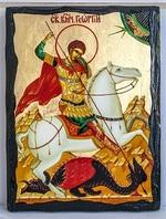 Георгий, убивающий змея, икона синайская, 21x28