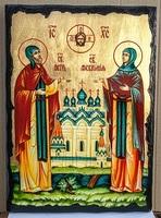 Петр и Феврония, икона синайская, 30x42