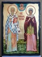 Киприан и Устиния, икона синайская, 30x42