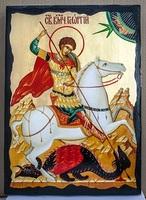 Георгий, убивающий змея, икона синайская, 30x42