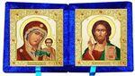 Складень бархат (Б-22-7-СВС) цвет синий, малый, византийский стиль, лик 10Х12