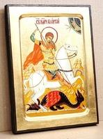 Георгий, убивающий змея, икона Греческая, 17 Х 23