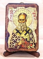 Григорий Богослов, икона под старину, сургуч (8 Х 10)