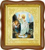 Воскресение Христово, средняя аналойная икона, фигурный киот (Д-17фс-71)