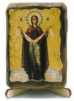 Покров Б.М., икона под старину, на дереве (8x10)