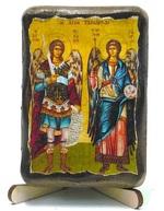 Михаил и Гавриил, икона под старину, на дереве (8x10)