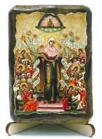 Всех скорбящих радость Б.М., икона под старину, на дереве (8x10)