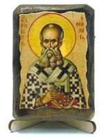 Григорий Богослов, икона под старину, на дереве (8x10)