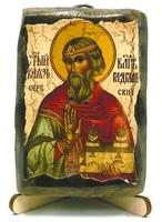 Владислав Сербский, икона под старину, на дереве (8x10)