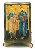 Петр и Павел, икона под старину, на дереве (8x10)