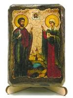 Адриан и Наталья, Св.Муч., икона под старину, на дереве (8x10)