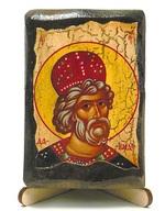 Давид Гареджийский, икона под старину, на дереве (8x10)