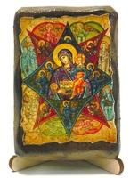 Неопалимая Купина Б.М., икона под старину, на дереве (8x10)