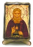 Антоний Радонежский, икона под старину, на дереве (8x10)