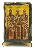 Три святителя Василий Великий, Григорий Богослов и Иоанн Златоуст, икона под старину, на дереве (8x10)