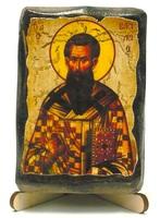 Василий Великий, икона под старину, на дереве (8x10)